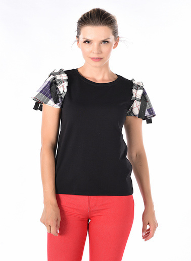 Optique Knitwear Düz Bisiklet Yaka Kısa Kol Penye Bluz Siyah